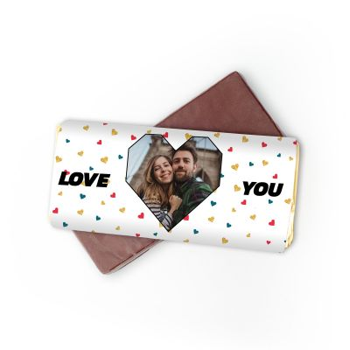 Personalisierbare Schokolade mit Foto-Herz und Text