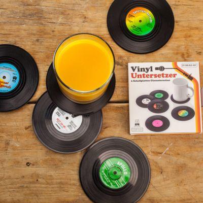 6 Untersetzer im Vinyl Schallplatten Look